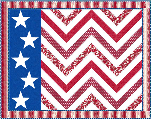QD23 Stars and Stripes Flag Wave Quilt