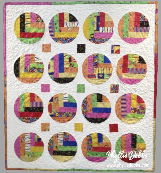 Round log cabin quilt pattern PhyllisDobbs