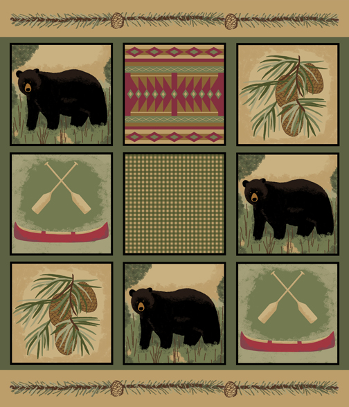 Black Bear Wholecloth Quilt Top PDobbs