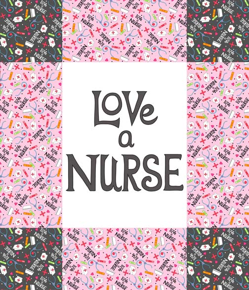 Love a Nurse Wholecloth Quilt Top PDobbs
