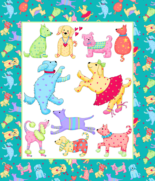 Party Pups Wholecloth Quilt Top PDobbs