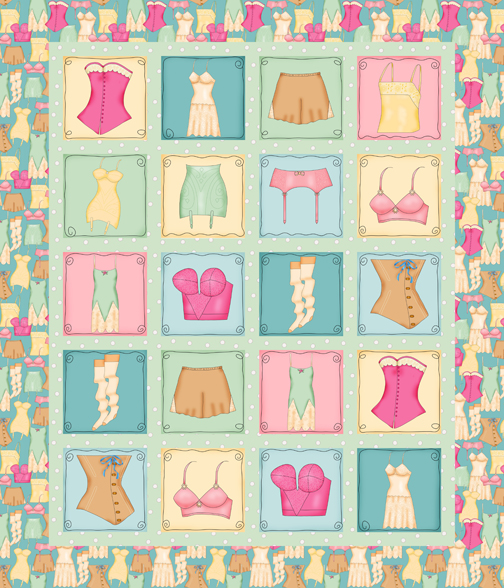Vintage Lingerie Wholecloth Quilt Top PDobbs