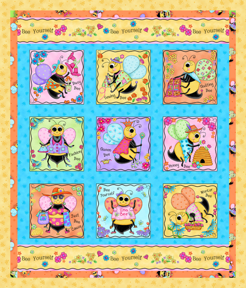 Whimsy Honey Bees Wholecloth Quilt PDobbs