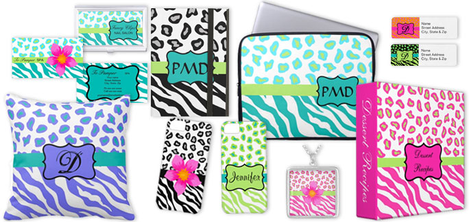 Products with Zebra and Leopart skin art