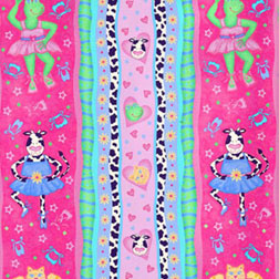 Sweetheart Ballerina Fabric - Cow Cat Frog