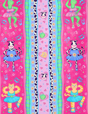Cow frog cat ballerina large stripe hot pink fabric