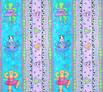 cow cat frog ballerina turquoise stripe