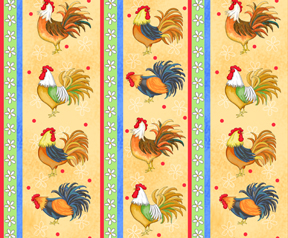 Yellow Rooster Stripe fabric