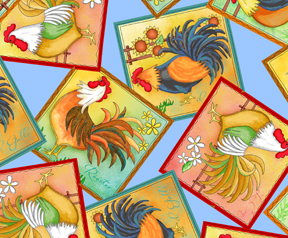 Rooster fabric in scenic patches