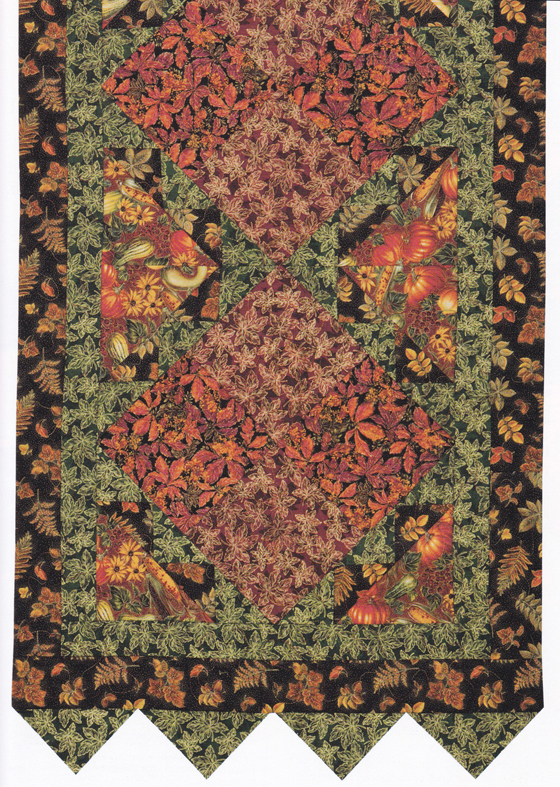 Autumn leaves quilt bed runner 2