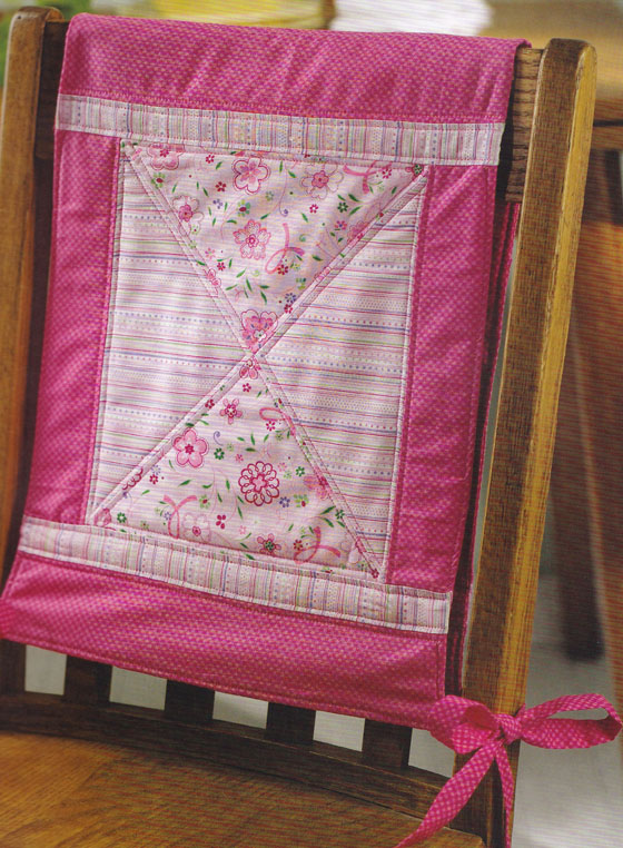 Pink Floral Quilted Chair Back