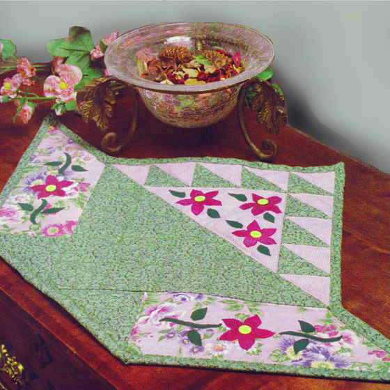 Flower Basket Quilt Table Topper